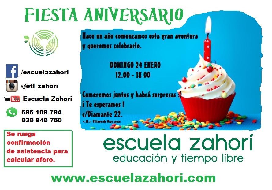 Cartel Aniversario - Escuela Zahorí
